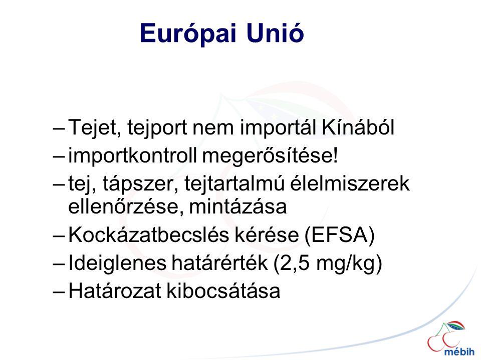 –Tejet, tejport nem importál Kínából –importkontroll megerősítése.
