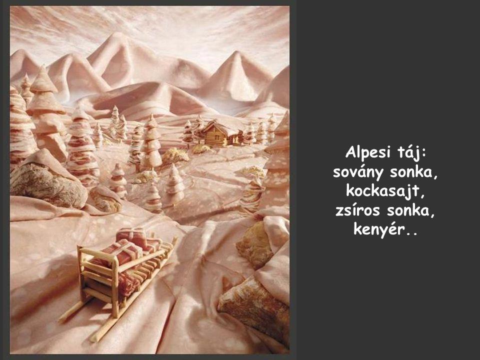 Alpesi táj: sovány sonka, kockasajt, zsíros sonka, kenyér..