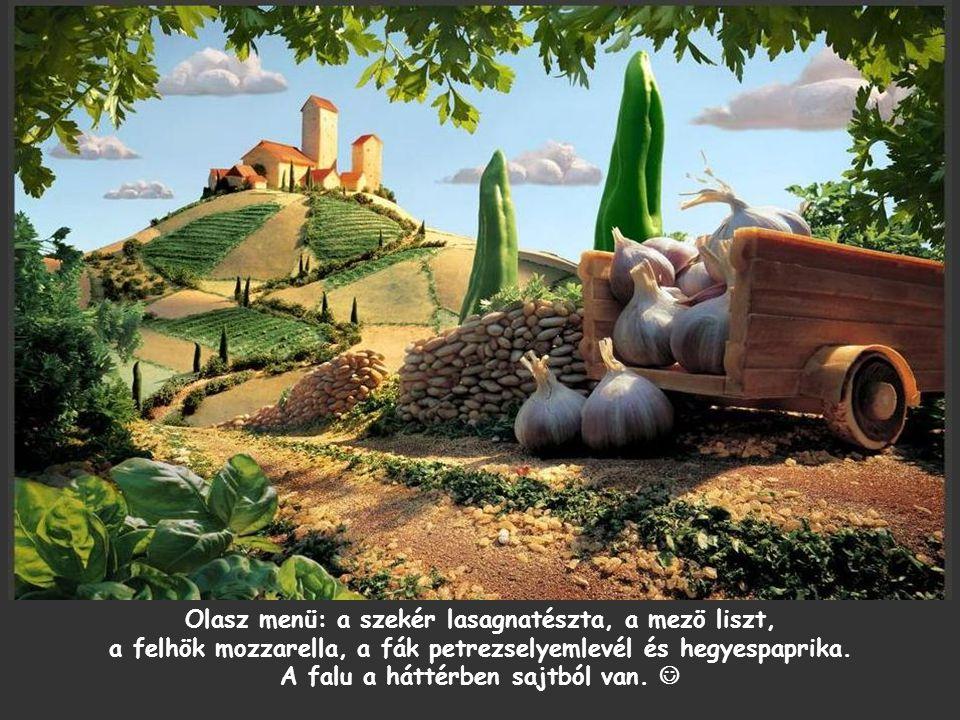 Olasz menü: a szekér lasagnatészta, a mezö liszt, a felhök mozzarella, a fák petrezselyemlevél és hegyespaprika.