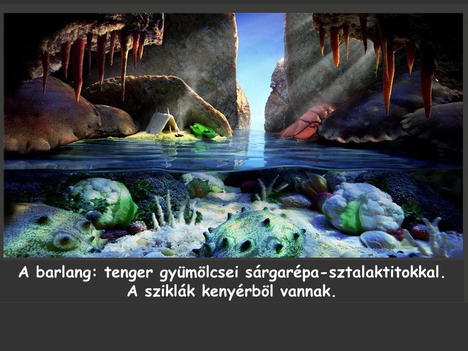 A barlang: tenger gyümölcsei sárgarépa-sztalaktitokkal. A sziklák kenyérböl vannak.