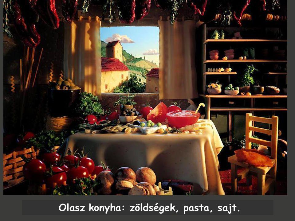 Olasz konyha: zöldségek, pasta, sajt.