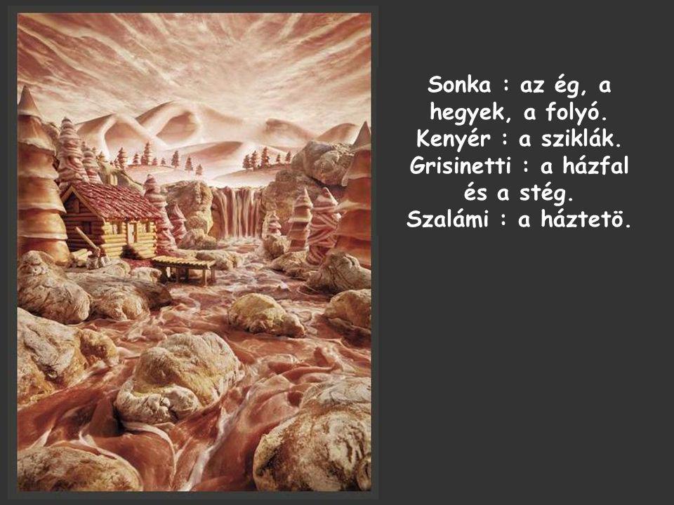 Sonka : az ég, a hegyek, a folyó. Kenyér : a sziklák.
