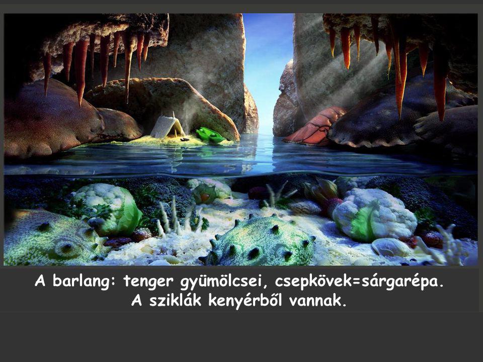 A barlang: tenger gyümölcsei, csepkövek=sárgarépa. A sziklák kenyérből vannak.