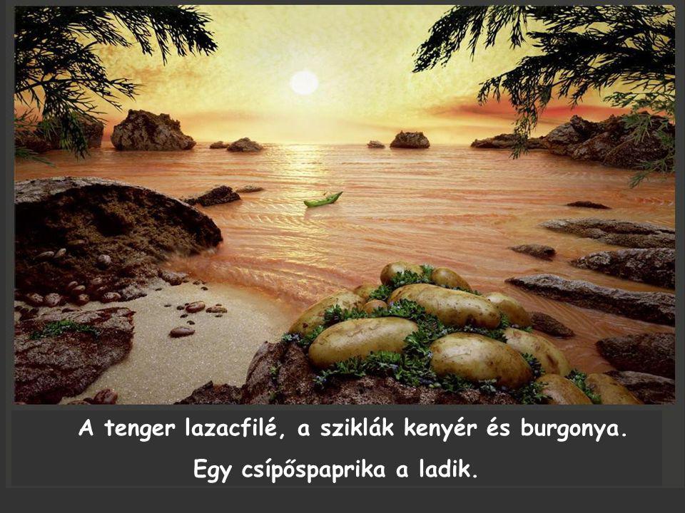 A tenger lazacfilé, a sziklák kenyér és burgonya. Egy csípőspaprika a ladik.