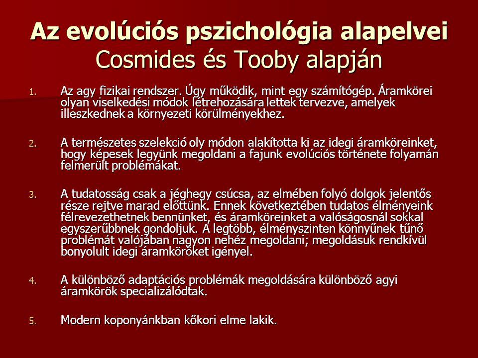 Az evolúciós pszichológia alapelvei Cosmides és Tooby alapján 1. Az agy fizikai rendszer. Úgy működik, mint egy számítógép. Áramkörei olyan viselkedés