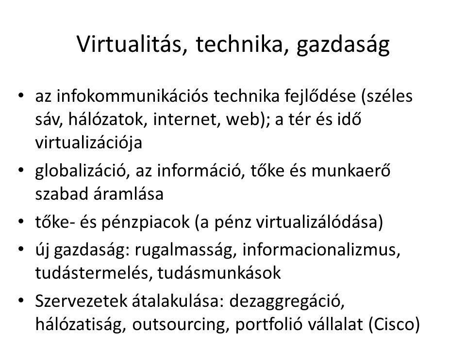 Virtualitás, technika, gazdaság az infokommunikációs technika fejlődése (széles sáv, hálózatok, internet, web); a tér és idő virtualizációja globalizáció, az információ, tőke és munkaerő szabad áramlása tőke- és pénzpiacok (a pénz virtualizálódása) új gazdaság: rugalmasság, informacionalizmus, tudástermelés, tudásmunkások Szervezetek átalakulása: dezaggregáció, hálózatiság, outsourcing, portfolió vállalat (Cisco)
