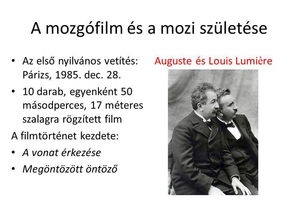 A mozgófilm és a mozi születése Az első nyilvános vetítés: Párizs, 1985.