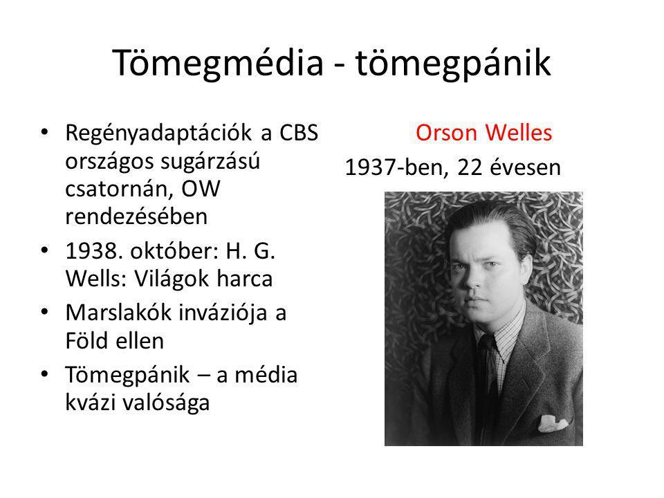 Tömegmédia - tömegpánik Regényadaptációk a CBS országos sugárzású csatornán, OW rendezésében 1938.