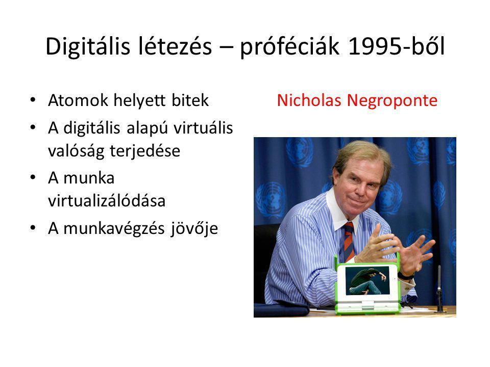 Digitális létezés – próféciák 1995-ből Atomok helyett bitek A digitális alapú virtuális valóság terjedése A munka virtualizálódása A munkavégzés jövője Nicholas Negroponte