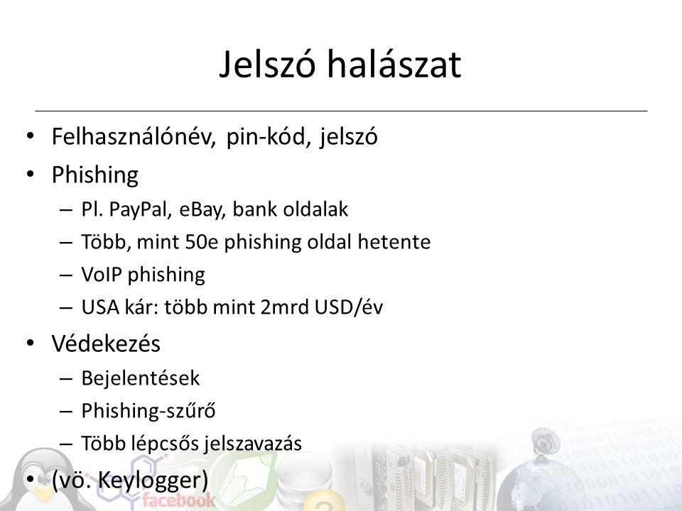 Felhasználónév, pin-kód, jelszó Phishing – Pl.