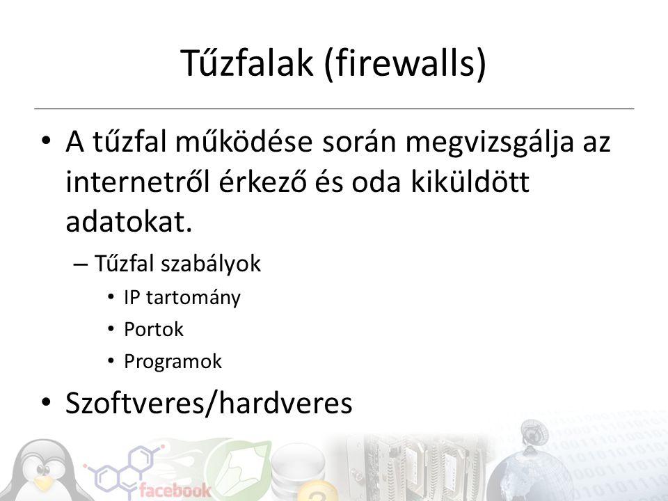 Tűzfalak (firewalls) A tűzfal működése során megvizsgálja az internetről érkező és oda kiküldött adatokat.