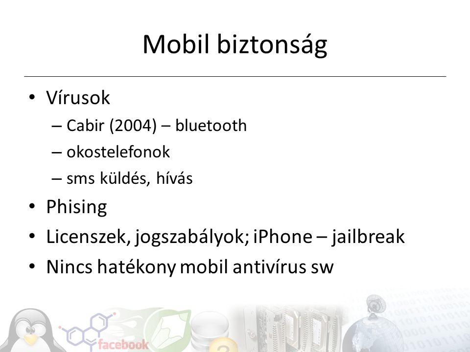 Mobil biztonság Vírusok – Cabir (2004) – bluetooth – okostelefonok – sms küldés, hívás Phising Licenszek, jogszabályok; iPhone – jailbreak Nincs hatékony mobil antivírus sw