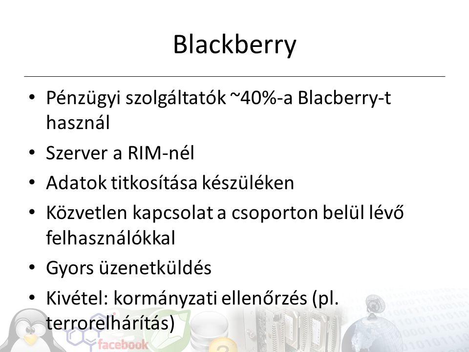Blackberry Pénzügyi szolgáltatók ~40%-a Blacberry-t használ Szerver a RIM-nél Adatok titkosítása készüléken Közvetlen kapcsolat a csoporton belül lévő felhasználókkal Gyors üzenetküldés Kivétel: kormányzati ellenőrzés (pl.