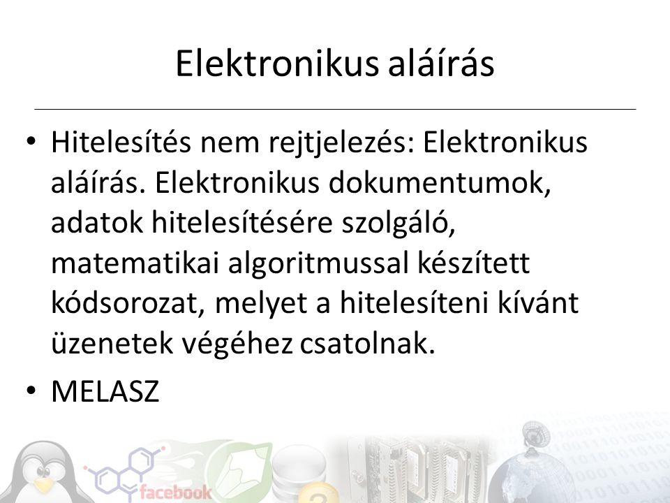 Elektronikus aláírás Hitelesítés nem rejtjelezés: Elektronikus aláírás.