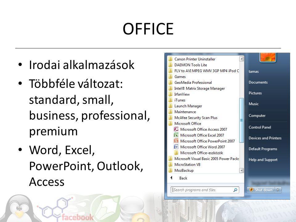 OFFICE Irodai alkalmazások Többféle változat: standard, small, business, professional, premium Word, Excel, PowerPoint, Outlook, Access