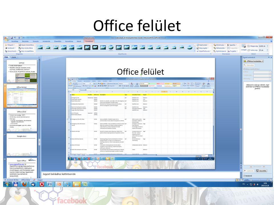 Office felület