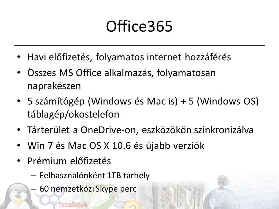 Office365 Havi előfizetés, folyamatos internet hozzáférés Összes MS Office alkalmazás, folyamatosan naprakészen 5 számítógép (Windows és Mac is) + 5 (Windows OS) táblagép/okostelefon Tárterület a OneDrive-on, eszközökön szinkronizálva Win 7 és Mac OS X 10.6 és újabb verziók Prémium előfizetés – Felhasználónként 1TB tárhely – 60 nemzetközi Skype perc