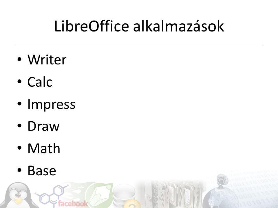 LibreOffice alkalmazások Writer Calc Impress Draw Math Base