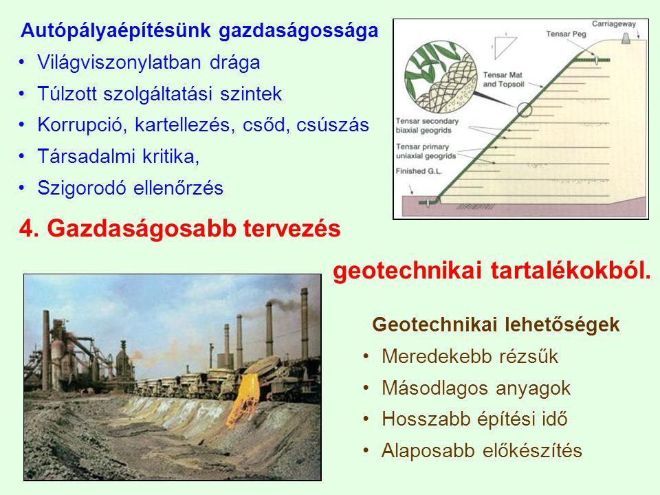 4.Gazdaságosabb tervezés geotechnikai tartalékokból.