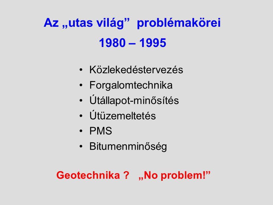 """Az """"utas világ problémakörei 1980 – 1995 Közlekedéstervezés Forgalomtechnika Útállapot-minősítés Útüzemeltetés PMS Bitumenminőség Geotechnika ."""