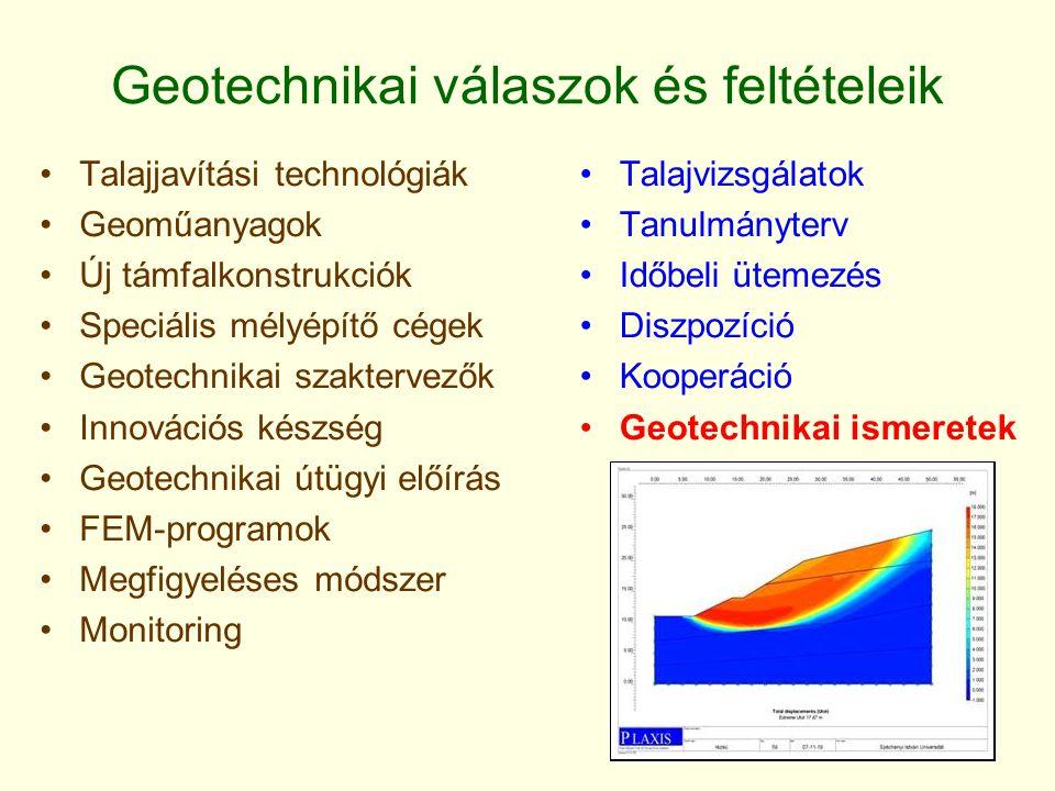 Geotechnikai válaszok és feltételeik Talajvizsgálatok Tanulmányterv Időbeli ütemezés Diszpozíció Kooperáció Geotechnikai ismeretek Talajjavítási technológiák Geoműanyagok Új támfalkonstrukciók Speciális mélyépítő cégek Geotechnikai szaktervezők Innovációs készség Geotechnikai útügyi előírás FEM-programok Megfigyeléses módszer Monitoring