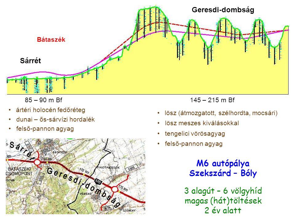 Sárrét Geresdi-dombság Bátaszék 85 – 90 m Bf145 – 215 m Bf ártéri holocén fedőréteg dunai – ős-sárvízi hordalék felső-pannon agyag lösz (átmozgatott, szélhordta, mocsári) lösz meszes kiválásokkal tengelici vörösagyag felső-pannon agyag M6 autópálya Szekszárd – Bóly 3 alagút – 6 völgyhíd magas (hát)töltések 2 év alatt