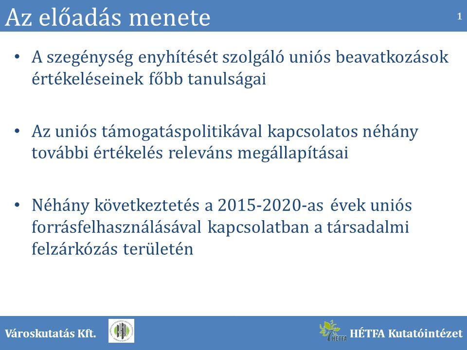 Városkutatás Kft.HÉTFA Kutatóintézet Az előadás menete A szegénység enyhítését szolgáló uniós beavatkozások értékeléseinek főbb tanulságai Az uniós támogatáspolitikával kapcsolatos néhány további értékelés releváns megállapításai Néhány következtetés a 2015-2020-as évek uniós forrásfelhasználásával kapcsolatban a társadalmi felzárkózás területén 1