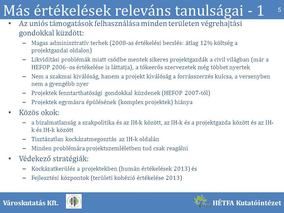 Városkutatás Kft.HÉTFA Kutatóintézet Más értékelések releváns tanulságai - 1 Az uniós támogatások felhasználása minden területen végrehajtási gondokkal küzdött: – Magas adminisztratív terhek (2008-as értékelési becslés: átlag 12% költség a projektgazdai oldalon) – Likviditási problémák miatt csődbe mentek sikeres projektgazdák a civil világban (már a HEFOP 2006–os értékelése is láttatja), a tőkeerős szervezetek még többet nyertek – Nem a szakmai kiválóság, hanem a projekt kiválóság a forrásszerzés kulcsa, a versenyben nem a gyengébb nyer – Projektek fenntarthatósági gondokkal küzdenek (HEFOP 2007-től) – Projektek egymásra épülésének (komplex projektek) hiánya Közös okok: – a bizalmatlanság a szakpolitika és az IH-k között, az IH-k és a projektgazda között és az IH- k és IH-k között – Tisztázatlan kockázatmegosztás az IH-k oldalán – Minden problémára projektszemléletben tud csak reagálni Védekező stratégiák: – Kockázatkerülés a projektekben (humán értékelések 2013) és – Fejlesztési központok (területi kohézió értékelése 2013) 5