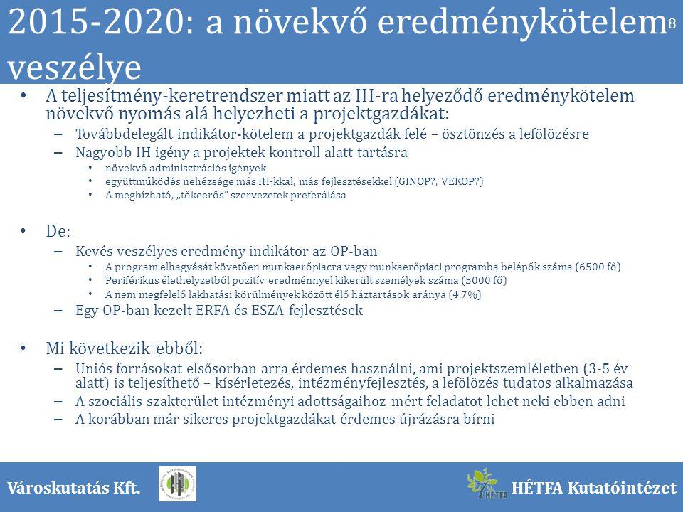 """Városkutatás Kft.HÉTFA Kutatóintézet 2015-2020: a növekvő eredménykötelem veszélye A teljesítmény-keretrendszer miatt az IH-ra helyeződő eredménykötelem növekvő nyomás alá helyezheti a projektgazdákat: – Továbbdelegált indikátor-kötelem a projektgazdák felé – ösztönzés a lefölözésre – Nagyobb IH igény a projektek kontroll alatt tartásra növekvő adminisztrációs igények együttműködés nehézsége más IH-kkal, más fejlesztésekkel (GINOP , VEKOP ) A megbízható, """"tőkeerős szervezetek preferálása De: – Kevés veszélyes eredmény indikátor az OP-ban A program elhagyását követően munkaerőpiacra vagy munkaerőpiaci programba belépők száma (6500 fő) Periférikus élethelyzetből pozitív eredménnyel kikerült személyek száma (5000 fő) A nem megfelelő lakhatási körülmények között élő háztartások aránya (4,7%) – Egy OP-ban kezelt ERFA és ESZA fejlesztések Mi következik ebből: – Uniós forrásokat elsősorban arra érdemes használni, ami projektszemléletben (3-5 év alatt) is teljesíthető – kísérletezés, intézményfejlesztés, a lefölözés tudatos alkalmazása – A szociális szakterület intézményi adottságaihoz mért feladatot lehet neki ebben adni – A korábban már sikeres projektgazdákat érdemes újrázásra bírni 8"""