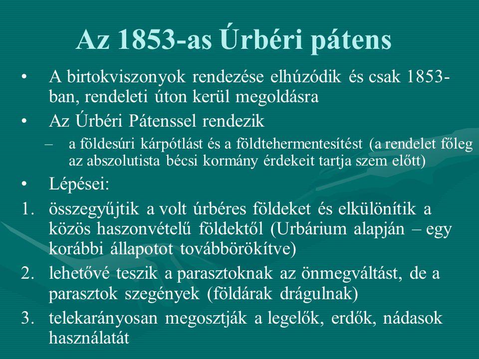 Az 1853-as Úrbéri pátens A birtokviszonyok rendezése elhúzódik és csak 1853- ban, rendeleti úton kerül megoldásra Az Úrbéri Pátenssel rendezik – –a fö