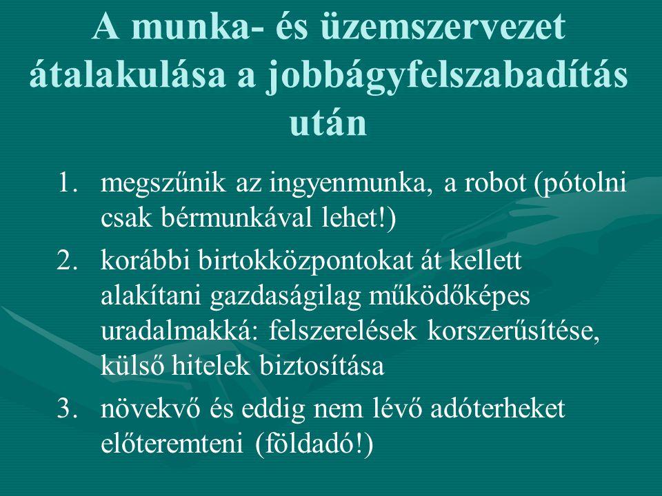 A munka- és üzemszervezet átalakulása a jobbágyfelszabadítás után 1. 1.megszűnik az ingyenmunka, a robot (pótolni csak bérmunkával lehet!) 2. 2.korább