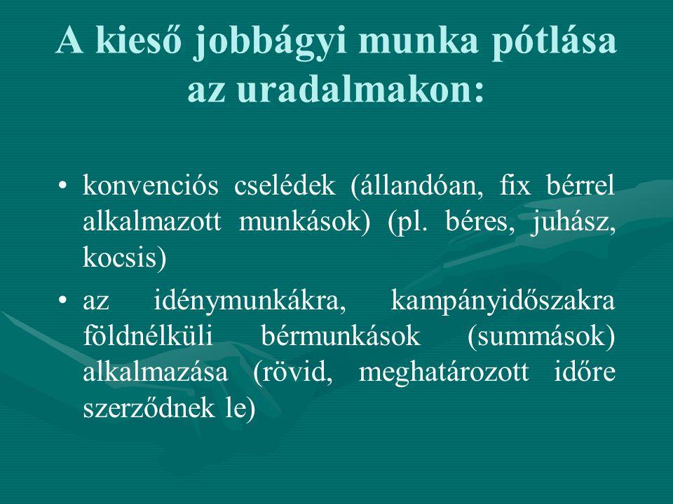 A kieső jobbágyi munka pótlása az uradalmakon: konvenciós cselédek (állandóan, fix bérrel alkalmazott munkások) (pl. béres, juhász, kocsis) az idénymu