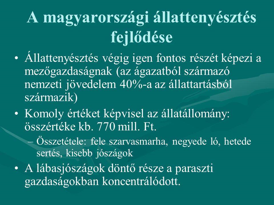 A magyarországi állattenyésztés fejlődése Állattenyésztés végig igen fontos részét képezi a mezőgazdaságnak (az ágazatból származó nemzeti jövedelem 4