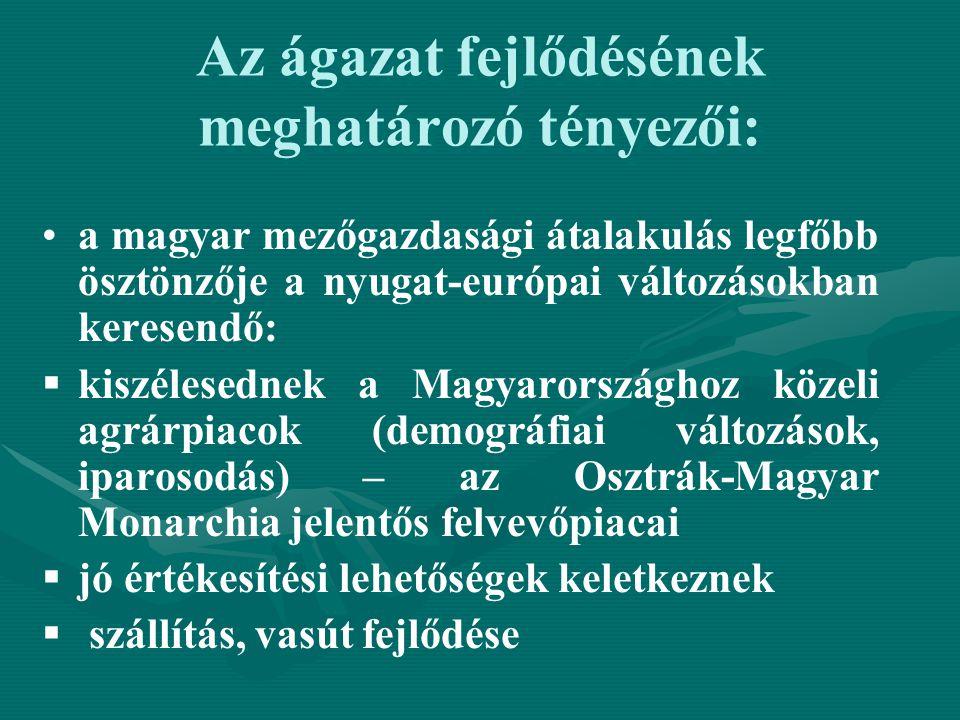 Az ágazat fejlődésének meghatározó tényezői: a magyar mezőgazdasági átalakulás legfőbb ösztönzője a nyugat-európai változásokban keresendő:   kiszél