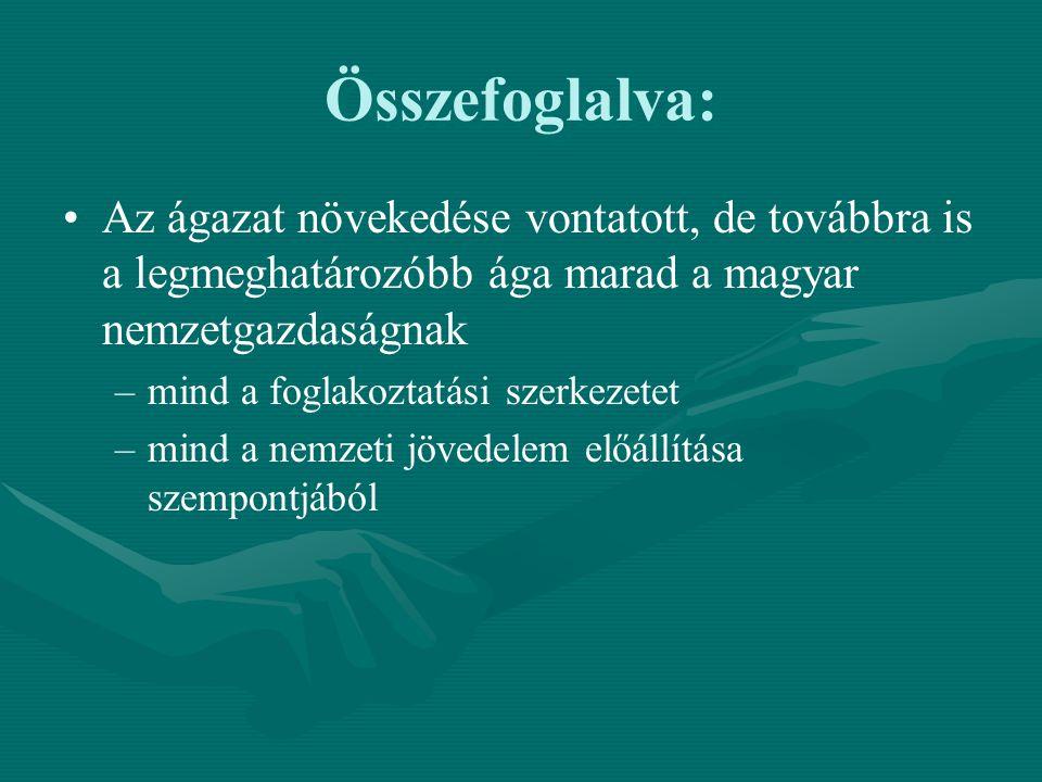 Összefoglalva: Az ágazat növekedése vontatott, de továbbra is a legmeghatározóbb ága marad a magyar nemzetgazdaságnak – –mind a foglakoztatási szerkez