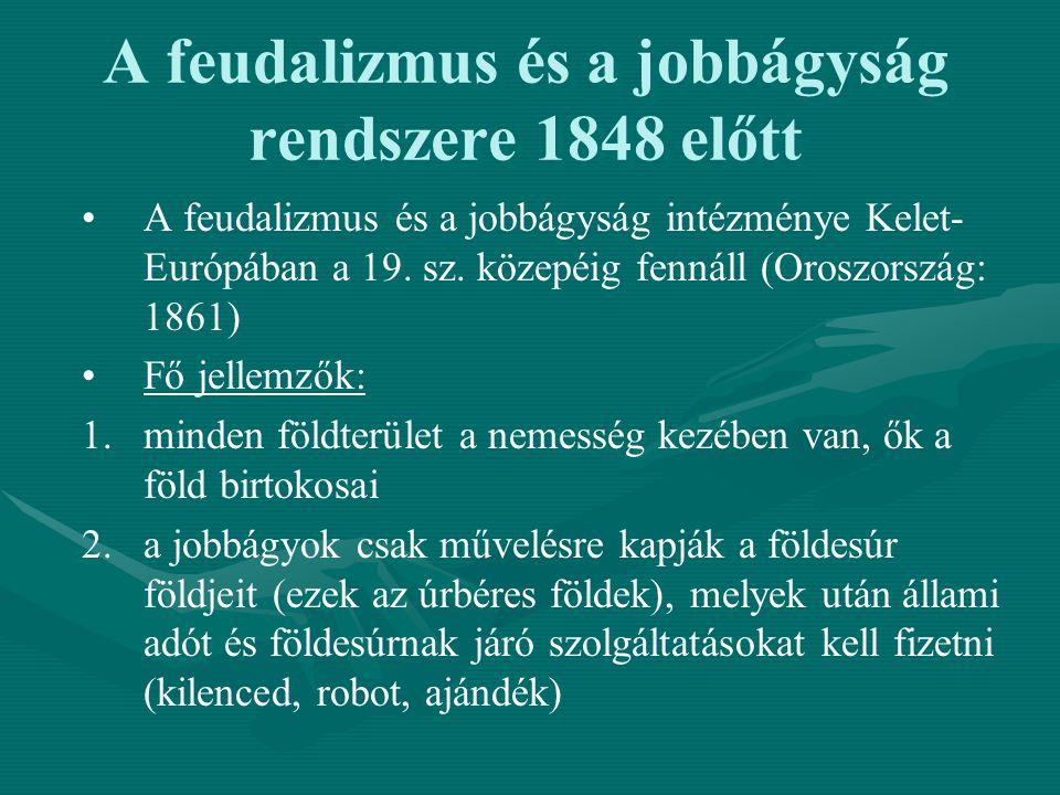 A feudalizmus és a jobbágyság rendszere 1848 előtt A feudalizmus és a jobbágyság intézménye Kelet- Európában a 19. sz. közepéig fennáll (Oroszország: