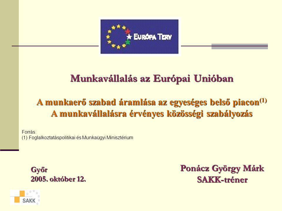 Munkavállalás az Európai Unióban A munkaerő szabad áramlása az egyeséges belső piacon(1) A munkavállalásra érvényes közösségi szabályozás Győr 2005.