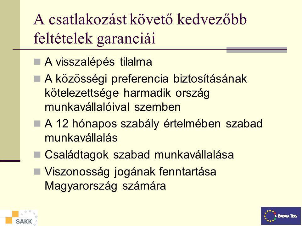 A csatlakozást követő kedvezőbb feltételek garanciái A visszalépés tilalma A közösségi preferencia biztosításának kötelezettsége harmadik ország munkavállalóival szemben A 12 hónapos szabály értelmében szabad munkavállalás Családtagok szabad munkavállalása Viszonosság jogának fenntartása Magyarország számára
