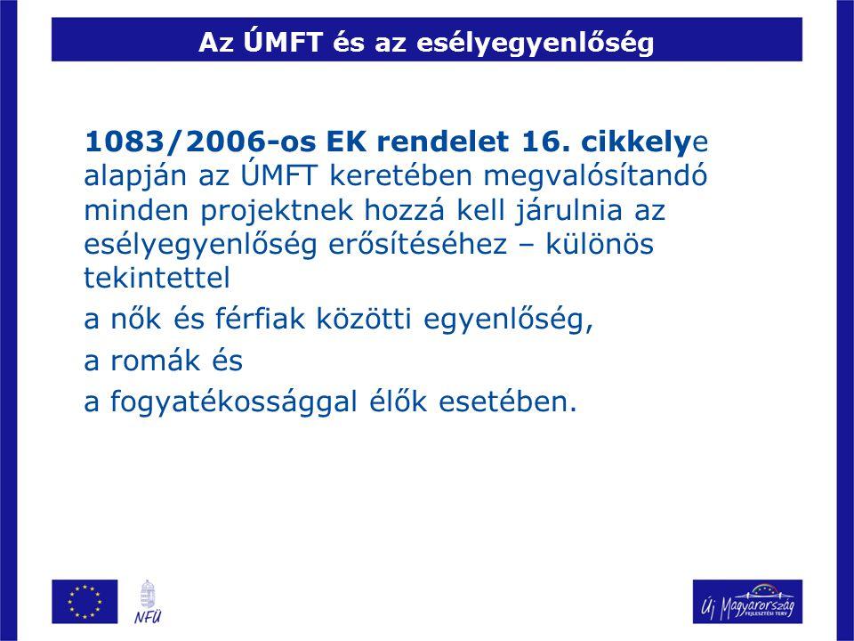AZ ÖT FŐ ESÉLYEGYENLŐSÉGI TERÜLET 1)Családbarát munkahelyi körülmények megteremtése, erősítése 2)A nemek közötti egyenlőség erősítése 3)Fogyatékos személyek életminőségének és munkaerő-piaci esélyeinek javítása 4)Roma emberek életminőségének és munkaerő- piaci esélyeinek javítása 5)A 68/2001 EK rendelet alapján hátrányos helyzetű munkavállalók esélyeinek javítása