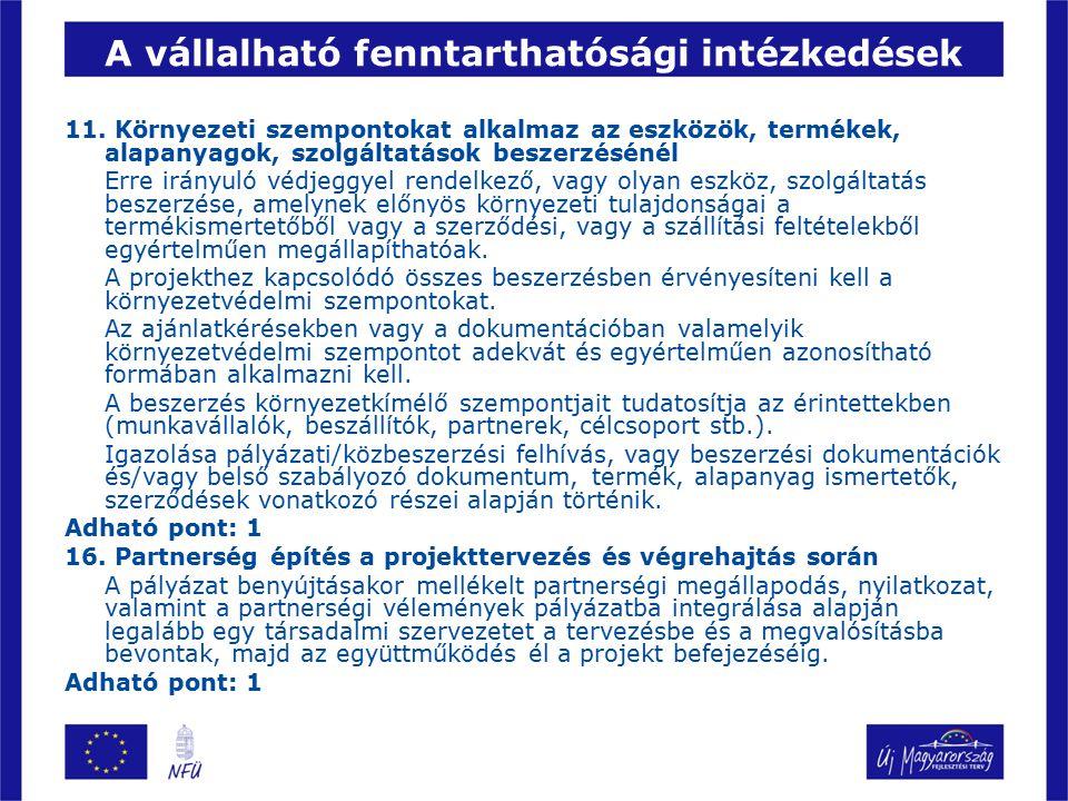 A vállalható fenntarthatósági intézkedések 11.
