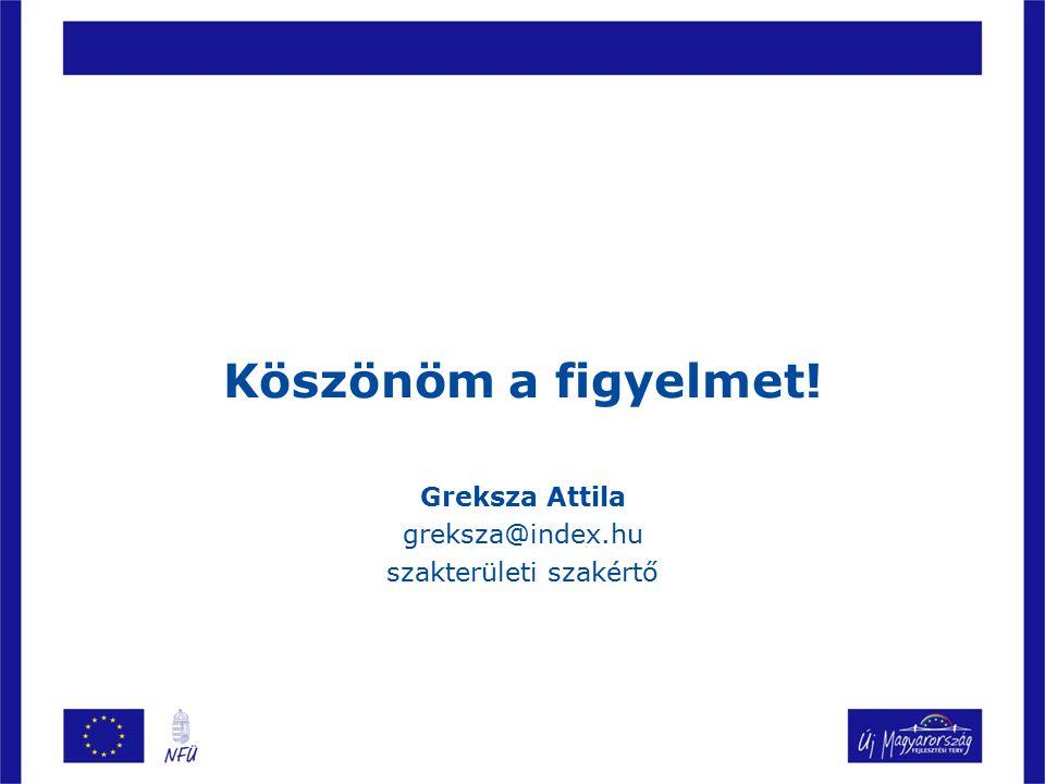 Köszönöm a figyelmet! Greksza Attila greksza@index.hu szakterületi szakértő
