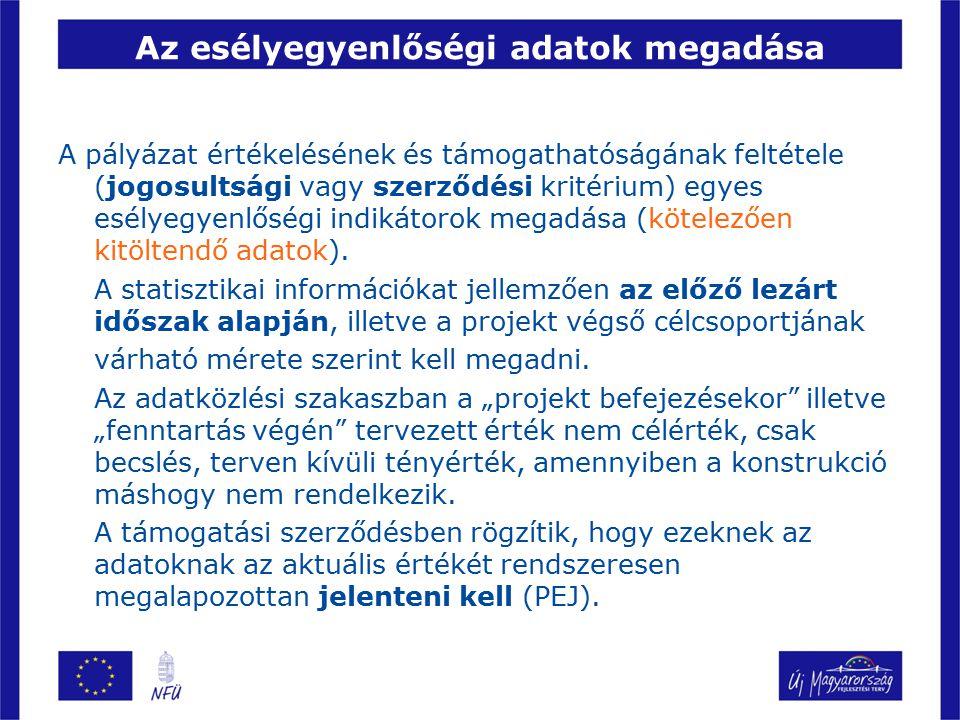 A vállalható esélyegyenlőségi intézkedések 13.Részmunkaidős foglalkoztatottak száma (fő) és 14.
