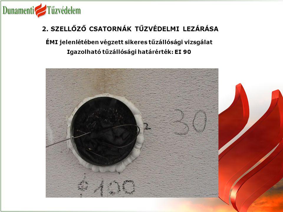 ÉMI jelenlétében végzett sikeres tűzállósági vizsgálat Igazolható tűzállósági határérték: EI 90 2.