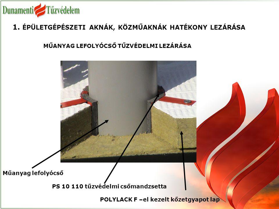 POLYLACK F –el kezelt kőzetgyapot lap MŰANYAG LEFOLYÓCSŐ TŰZVÉDELMI LEZÁRÁSA 1. ÉPÜLETGÉPÉSZETI AKNÁK, KÖZMŰAKNÁK HATÉKONY LEZÁRÁSA Műanyag lefolyócső