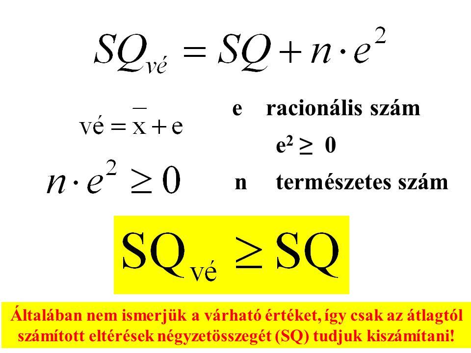 Általában nem ismerjük a várható értéket, így csak az átlagtól számított eltérések négyzetösszegét (SQ) tudjuk kiszámítani! e racionális szám e 2 ≥ 0