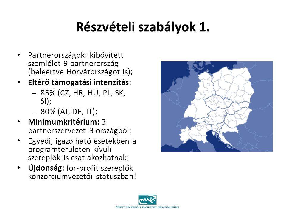 Részvételi szabályok 1. Partnerországok: kibővített szemlélet 9 partnerország (beleértve Horvátországot is); Eltérő támogatási intenzitás: – 85% (CZ,