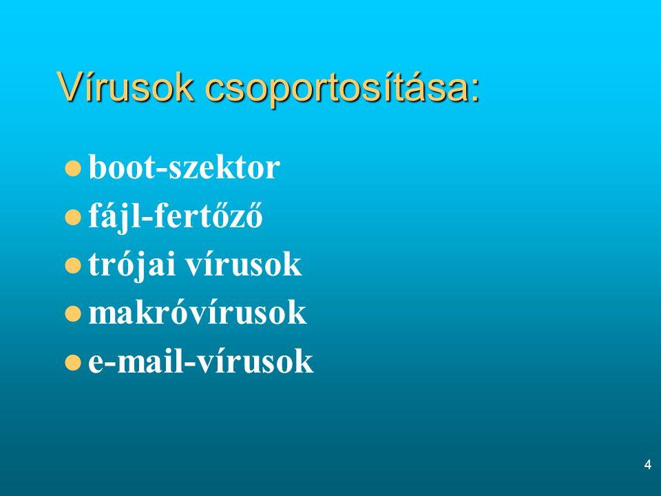 4 Vírusok csoportosítása: boot-szektor fájl-fertőző trójai vírusok makróvírusok e-mail-vírusok
