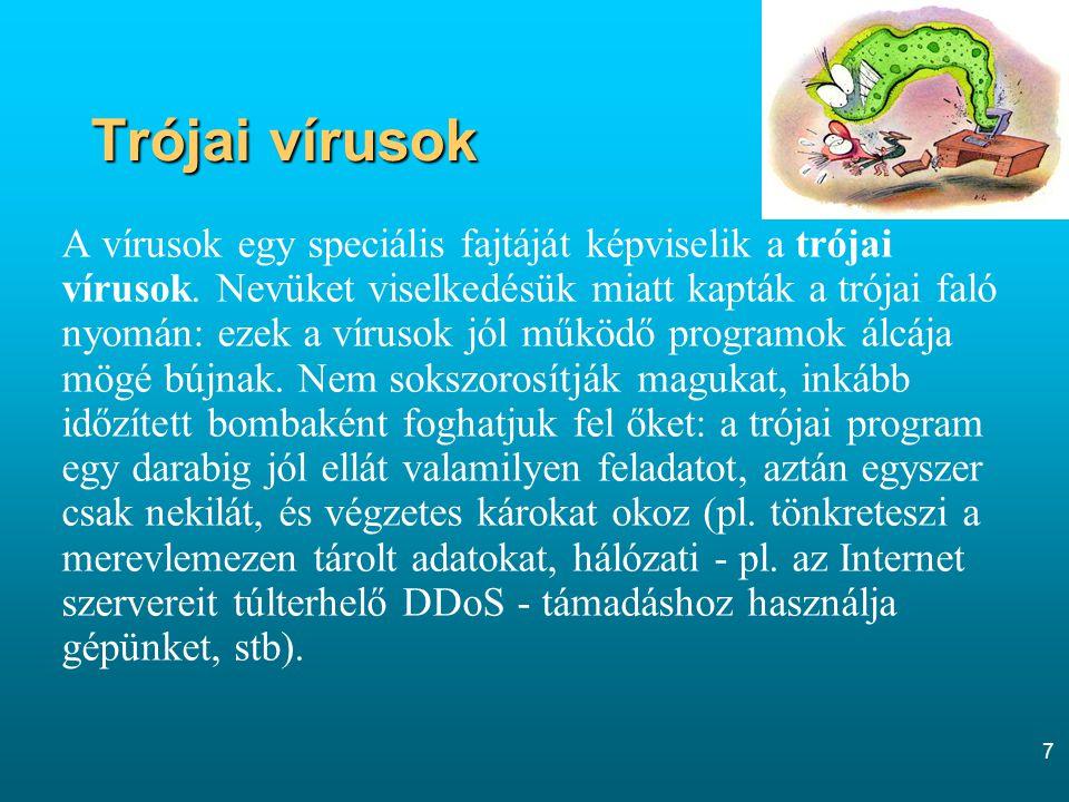 7 Trójai vírusok A vírusok egy speciális fajtáját képviselik a trójai vírusok. Nevüket viselkedésük miatt kapták a trójai faló nyomán: ezek a vírusok
