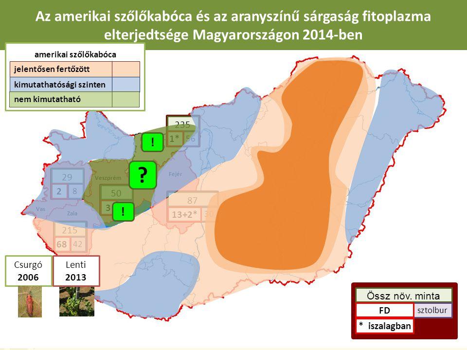 Zala Komárom- Esztergom Veszprém Fejér Az amerikai szőlőkabóca és az aranyszínű sárgaság fitoplazma elterjedtsége Magyarországon 2014-ben 87 30 13+2* 50 36 3 215 42 68 235 56 1* Össz növ.