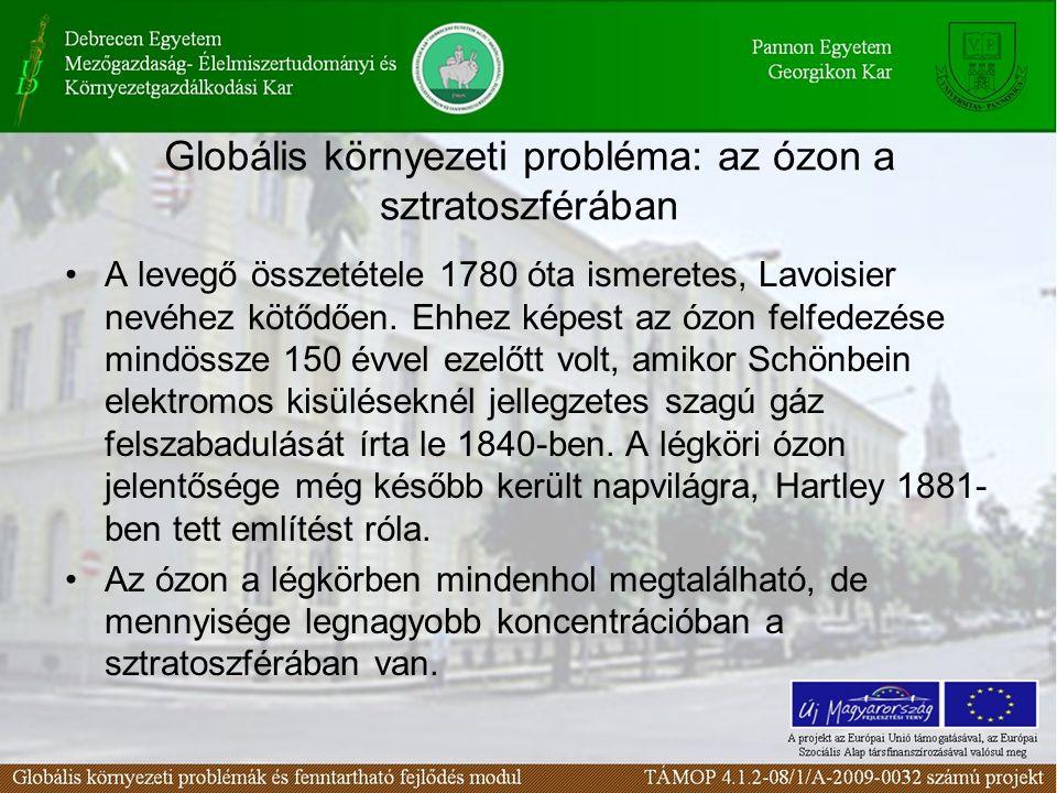 Globális környezeti probléma: az ózon a sztratoszférában A levegő összetétele 1780 óta ismeretes, Lavoisier nevéhez kötődően.